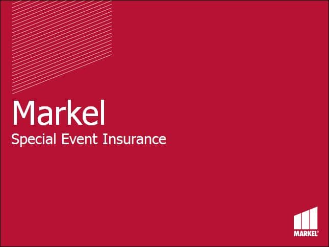 Markel Event Insurance Product Overview
