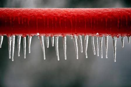 Red frozen pipe