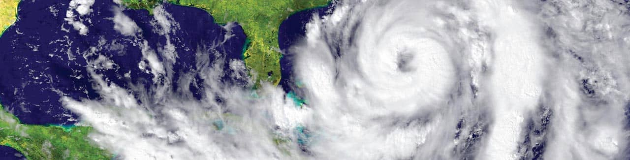 Photo of a hurricane approaching the east coast of the United States.