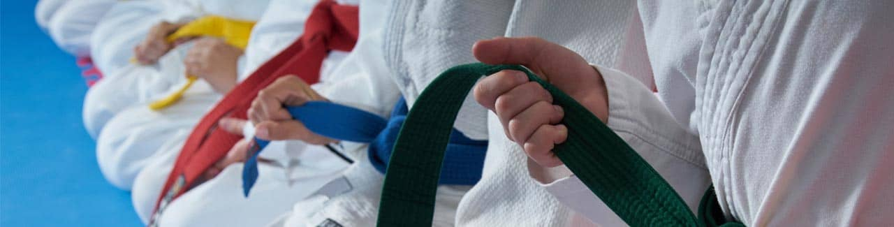 close up of martial arts belts