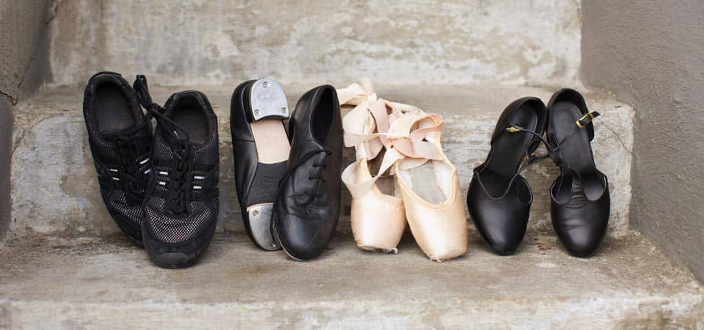 Close-up of dance, tap, and ballet shoes