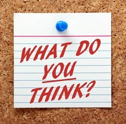 'What do you think' note on bulletin board